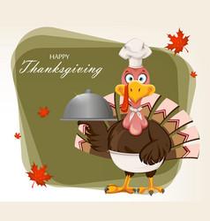 funny cartoon character thanksgiving turkey bird vector image