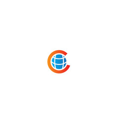 globe c initial planet logo vector image