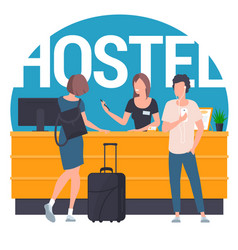 guests at hostel lobby vector image