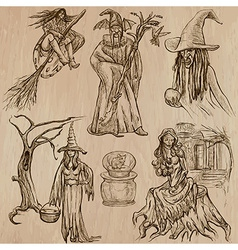 Halloween Witches and Wizards - Hand drawn pack vector