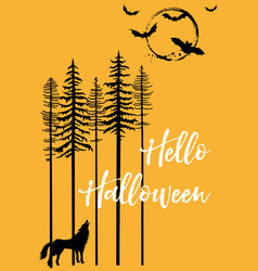 Halloween with howling wolf and bats vector