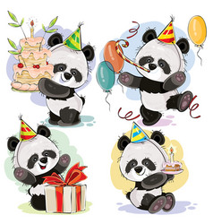Happy birthday set with baby panda bears vector