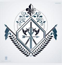 Heraldic sign made using vintage elements laurel vector