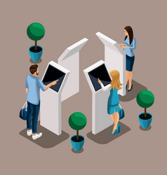 Isometric atms in the bank bank manager turn-bas vector