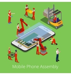 Isometric mobile phone assembly process vector