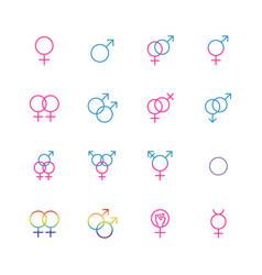 Male and female sexual orientation icon set vector