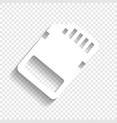 memory card sign white icon with soft vector image