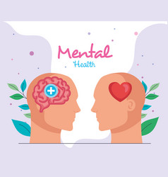 Mental health concept with profiles human vector