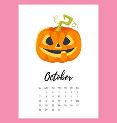 October 2018 year calendar page vector