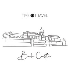 One continuous line drawing buda castle landmark vector
