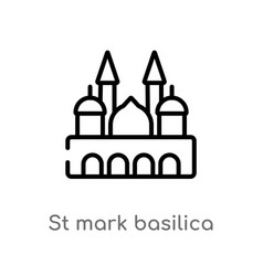 Outline st mark basilica icon isolated black vector