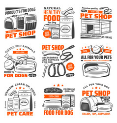 Pet shop icons with dog care supplies animal food vector