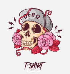 poster card or t-shirt print with skull and roses vector image