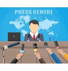 Press conference world live tv news vector image