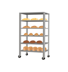Rack with freshly baked bread vector