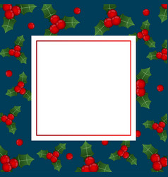 red berry christmas on indigo blue banner card vector image
