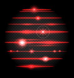 Red laser lens flare set vector