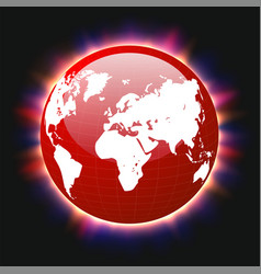red planet earth and world map colorful light vector image
