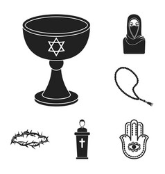 Religion and belief black icons in set collection vector