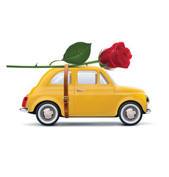 Retro car with red rose isolated on white vector