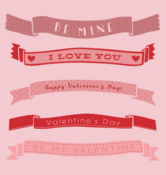 Ribbon banner valentine day isolated cute set vector