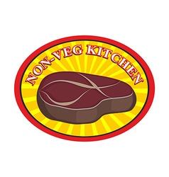 Roasted meat steak logo for cafe or restaurant vector