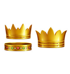 royal golden crowns realistic collection vector image