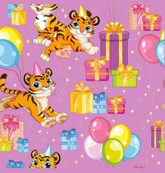 Seamless pattern tigers happy birthday purple vector