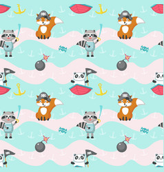 seamless pattern with cute pirate animals vector image
