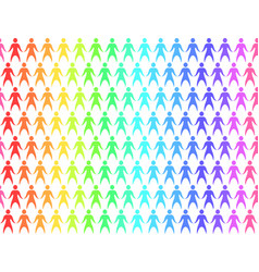 seamless pattern with rainbow people holding hands vector image