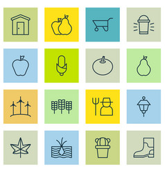 Set of 16 agriculture icons includes grower vector