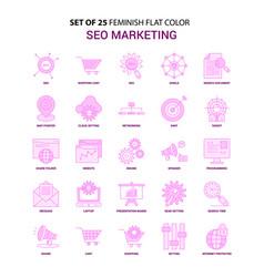 set of 25 feminish seo marketing flat color pink vector image