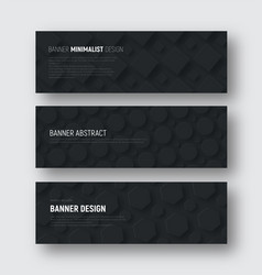 set of black horizontal banners with rhombuses vector image
