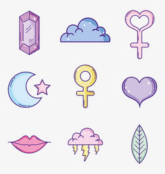 Set of cute feminist cartoons vector