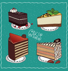 Set of different cakes in handmade cartoon style vector