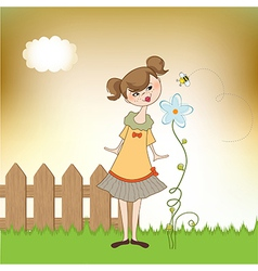 small young lady who smells a flower vector image