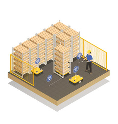 Smart industry robots isometric composition vector