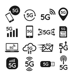 Standard 5g icon set for internet and phone vector