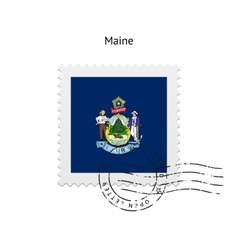 State of Maine flag postage stamp vector
