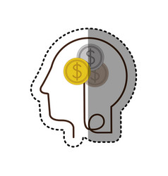 Sticker silhouette profile human head with coins vector