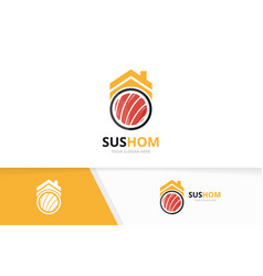 Sushi and real estate logo combination vector