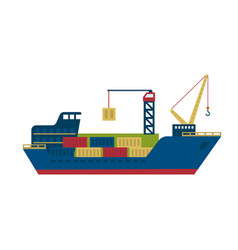tanker cargo ship with containers vector image