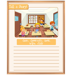 Tell a story classroom scene vector