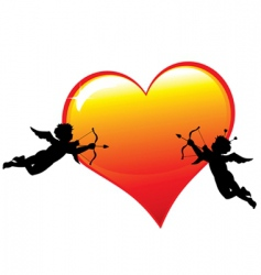 two cupid silhouettes vector image