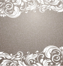 Vintage beige background with white curls vector image