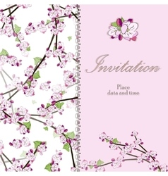 Vintage floral invitation card with blooming twig vector image