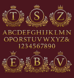 Vintage monogram kit letters numbers and frames vector