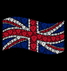 Waving uk flag collage of electric guard items vector