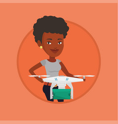 woman controlling delivery drone with post package vector image