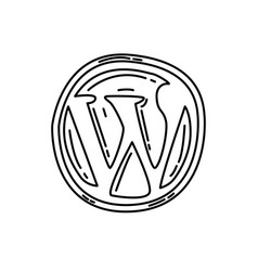 Wordpress icon doodle hand drawn or black vector